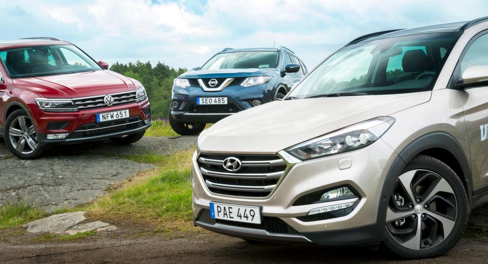 Ljustest: Hyundai Tucson, Nissan X-Trail och Volkswagen Tiguan (2016)