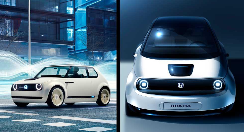 Första konceptet av Hondas elbil till vänster och vidareutvecklade prototypen till höger.
