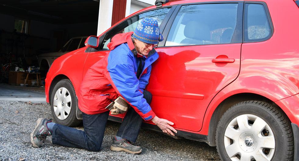 Torbjörn Lindbloms VW Polo drabbades av rostangrepp i bakkanten på vänster tröskellåda.