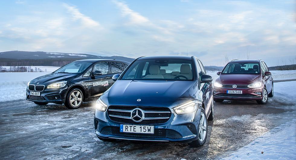 Ljustest: BMW 2-serie, Mercedes B-klass, Volkswagen Golf Sportsvan (2019)