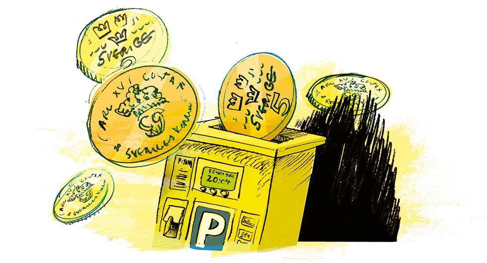 Ett parkeringsbolag måste enligt lag inte erbjuda betalning via kontanter eller kort. Illustration: Johan Isaksson.