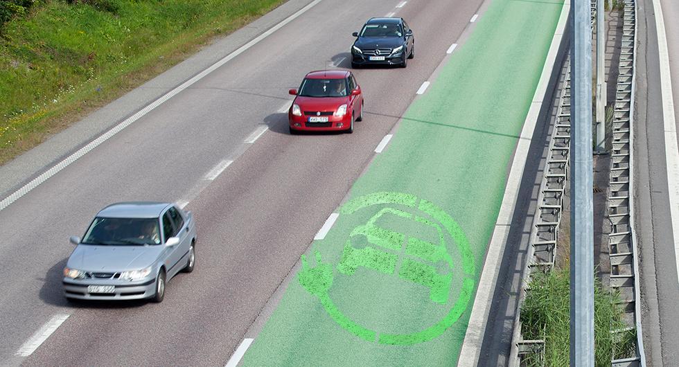 Trafikverket vill testa att ge elbilar egen fil