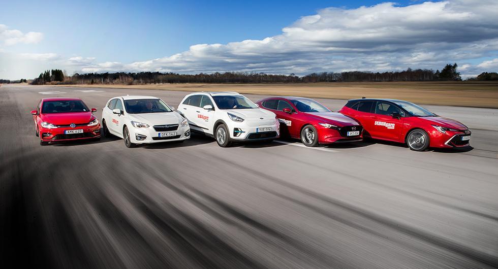 Ljustest: Kia e-Niro, Mazda 3, Subaru Impreza, Toyota Corolla, Volkswagen Golf (2019)
