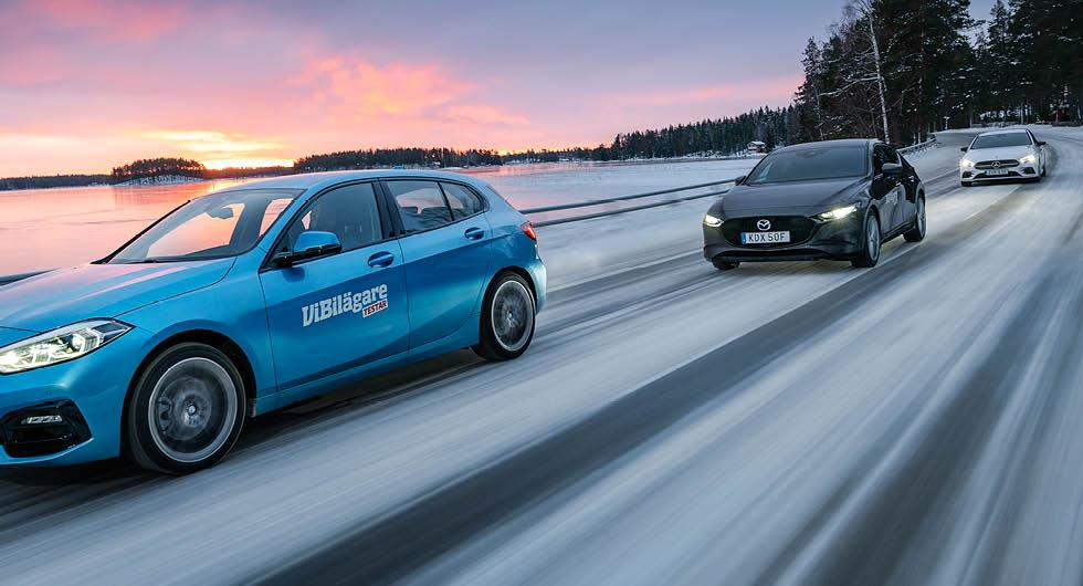 Ljustest: BMW 1-serie, Mazda 3 och Mercedes A-klass (2020)