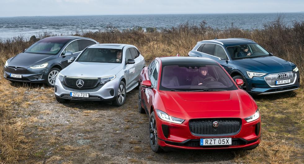 Rosttest: Audi E-tron, Jaguar I-Pace, Mercedes EQC och Tesla Model X (2020)