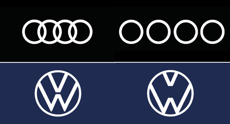 """Volkswagen och Audi visar upp nya """"coronalogotyper"""""""