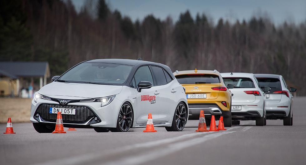 Testvärden: Kia XCeed, Skoda Scala, Toyota Corolla, Volkswagen Golf (2020)
