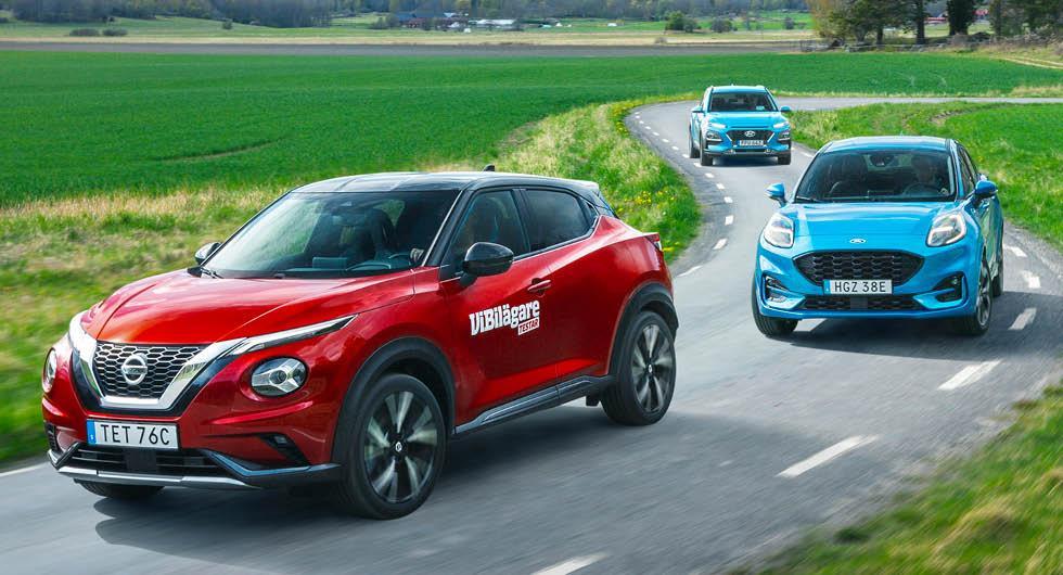 Test: Ford Puma, Hyundai Kona och Nissan Juke (2020)