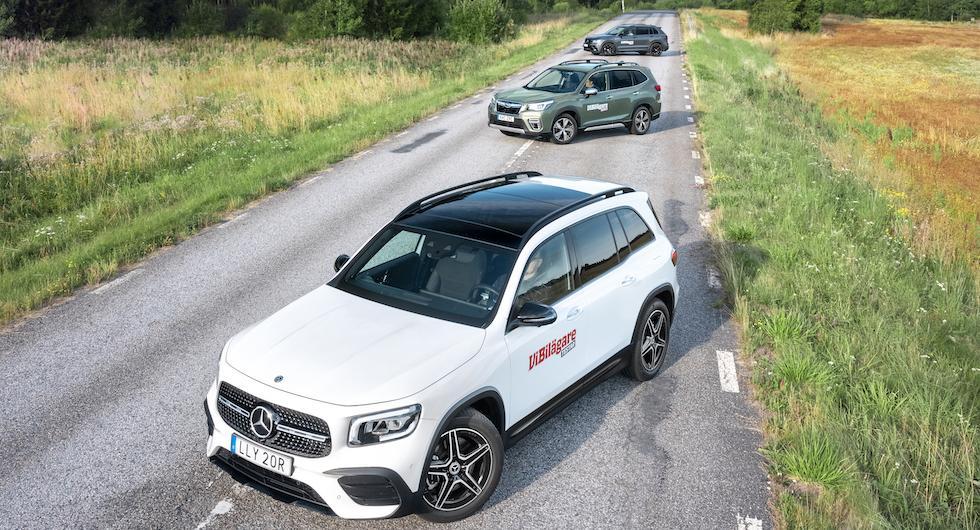 Ljustest: Mercedes GLB, Subaru Forester, Volkswagen Tiguan (2020)
