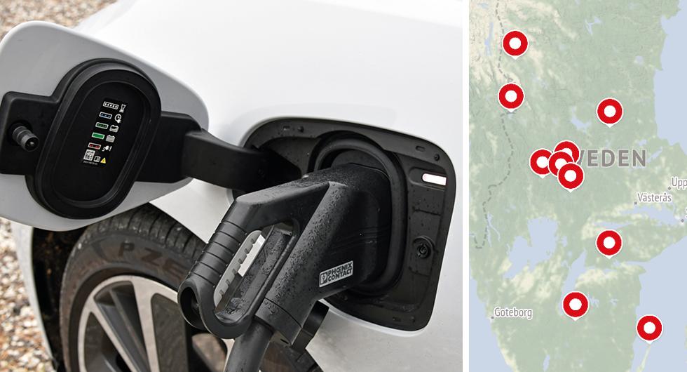 Här hamnar de nya statliga snabbladdarna för elbilar