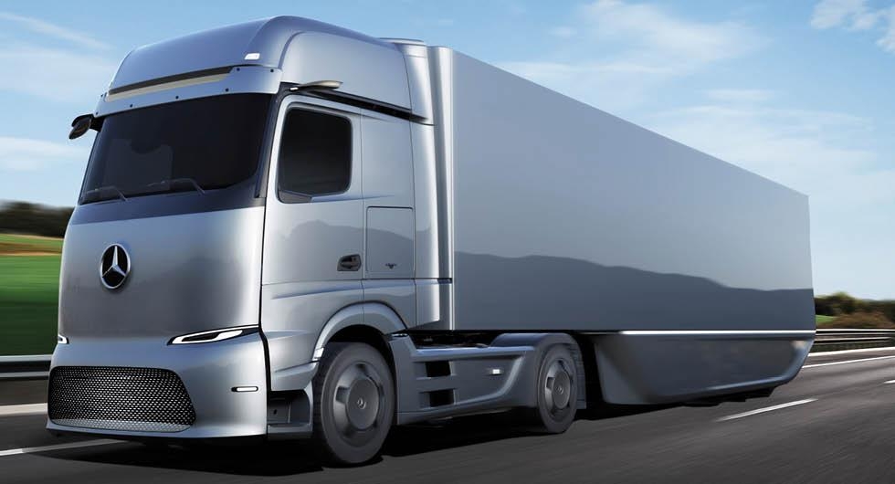 Mercedes vätgaslastbil klarar 100 mil på en tank
