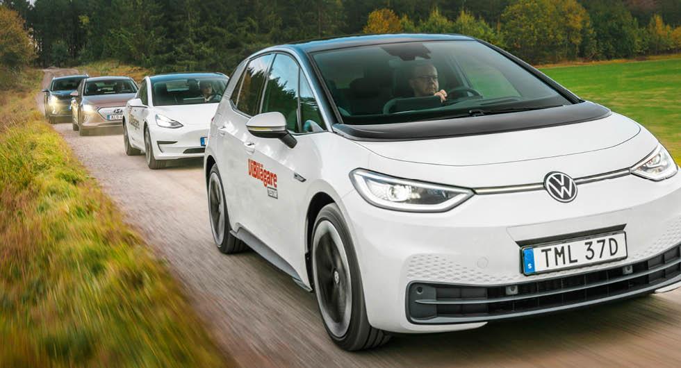 Ljustest: Hyundai Ioniq, Kia e-Niro, Tesla Model 3 och Volkswagen ID.3 (2020)