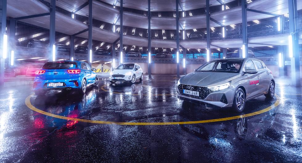 Ljustest: Ford Fiesta, Hyundai i20 och Kia Rio (2020)