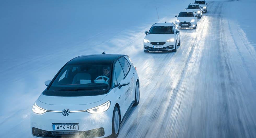 Ljustest: Honda Jazz, Mercedes GLB, Seat Leon, Toyota Yaris och Volkswagen ID 3 (2021)