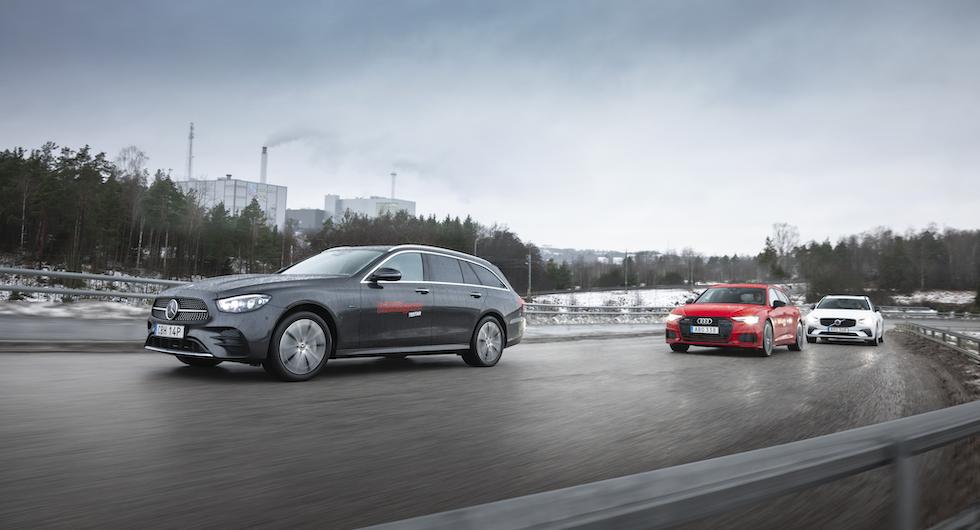 Ljustest: Audi A6 Avant, Mercedes E300 de Kombi och Volvo V90 T6 Recharge (2021)