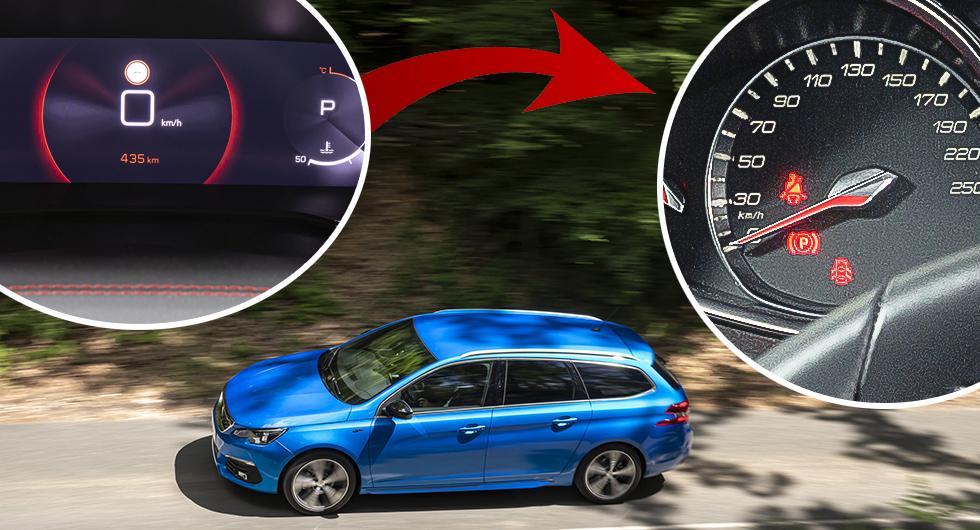 Peugeot 308 ersätter digital hastighetsmätare med analog