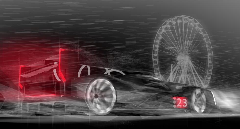 En illustration av hur den nya tävlingsbilen kan komma att se ut. Foto: Audi