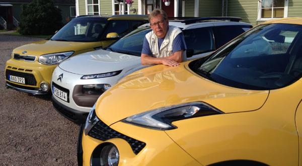 Nissan Juke, Citroën Cactus och Kia Soul stod på startlinjen i första testet efter semestern. På bilden syns också bloggskrivare Schultz.