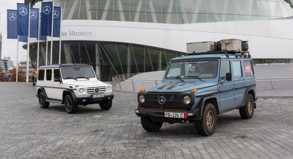 Gunther Holtorf har besökt 215 länder i sin 300 GD, det ger bilen en plats i Mercedes eget museum i Stuttgart. I bakgrunden ses jubileumsbilen Edition 35.