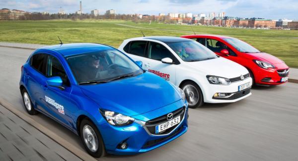 Vi har testat Mazda 2, Opel Corsa och VW Polo.