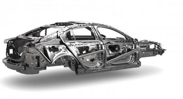 Nya Jaguar XE bygger på en monocoque konstruktion aluminium.