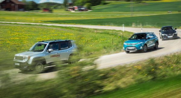 Vi har ljustestat Jeep Renegade, Suzuki Vitara och Mazda CX-3.