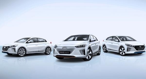 Tre drivlinor i samma bil: En elbil, en laddhybrid och en hybrid.