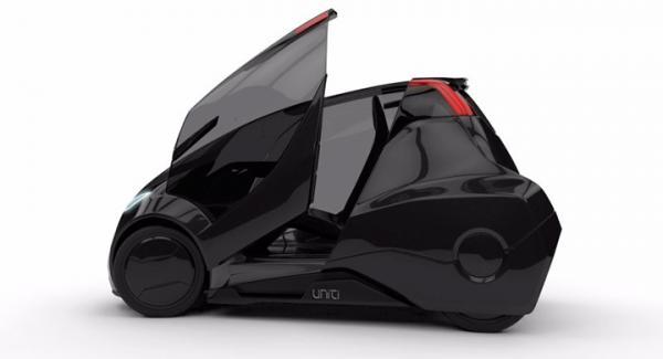 En tvåsitsig elbil med räckvidd på 15 mil, är Unitis planer för framtiden.