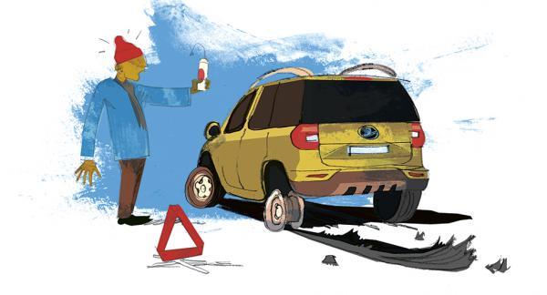 Frågeställaren fick inte med reservdäck eller domkraft till nya bilen, bara däckfyllnadsspray och luftkompressor. Illustration: Johan Isaksson.