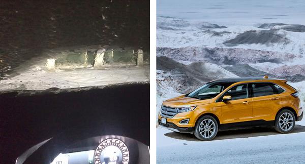 Frågeställaren tycker att värmaren på Ford Edge är för klen och inte orkar tina rutorna på ett bra sätt. Vänstra bilden visar när värmaren har varit igång i 25 minuter -8 grader.