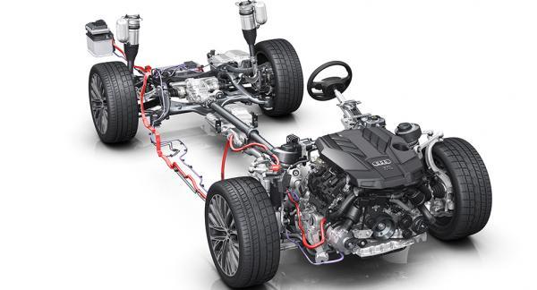 Än så länge är detta allt vi får se av nya generationen Audi A8: Drivlinan som består av ett mildhybridssystem.