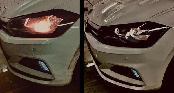 Bildtext: Skillnaden på ljuset blir avsevärt med ren kontra en nedsmutsad strålkastarlins.