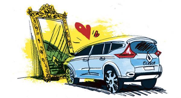 Frågeställaren har en Renault Espace och upplever stora problem med att instrumentbrädan speglas i framrutan. Illustration: Johan Isaksson.