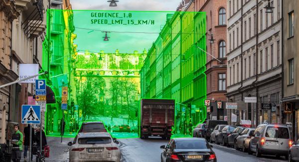 Inhägnaden finns endast i det digitala men kan automatiskt styra hastigheten på trafiken inom ett visst område. (Illustration: Niklas Carle).