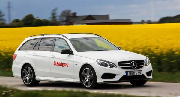 Mercedes E-klass, här som kombi, är dyr även som begagnad, men också rymlig, säker och bekväm.
