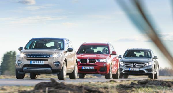 Land Rover har testets högsta prislapp, BMW är äldst och Mercedes har det största axelavståndet.