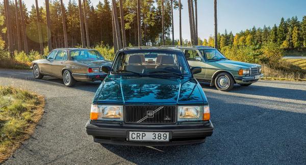 Tre veteraner samlade till bullertest: Volvo 240 -91, Jaguar XJ6 -85 och Mercedes-Benz 200T -86. Samtliga inlånade från Vi Bilägares systertidning Klassiker.