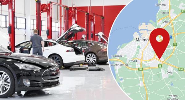 Observera: Bilden visar inte Teslas servicecenter i Malmö.