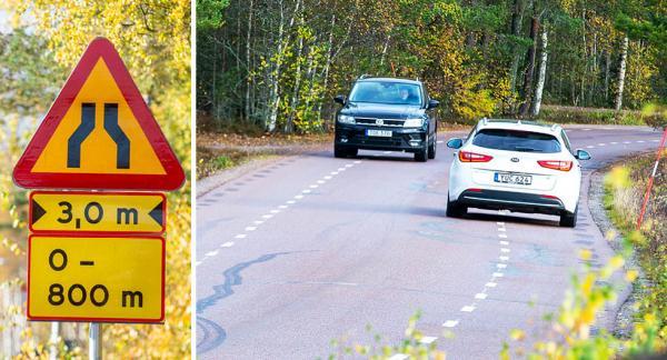 Bilarna tappar mark när tvåfiliga vägar görs om till bygdevägar, som här på Lilltorpsvägen i Falun. Gående och cyklister har företräde i vägrenen.