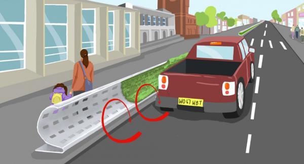 Böjda barriärer längs vägar i städer kan leda tillbaka förorenad luft till bilvägen och skydda gångtrafikanter. Illustration: Imperial College